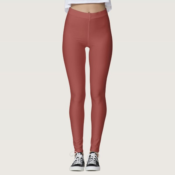 Plain burnt ombre red ochre colored leggings