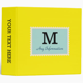 Plain Canary yellow Background Monogram 3 Ring Binder