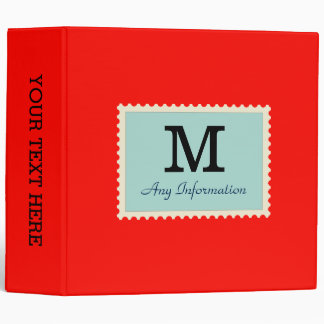 Plain Candy apple red Background Monogram 3 Ring Binder