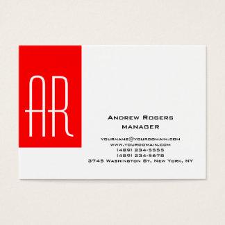Plain chubby modern white red stripe monogram business card