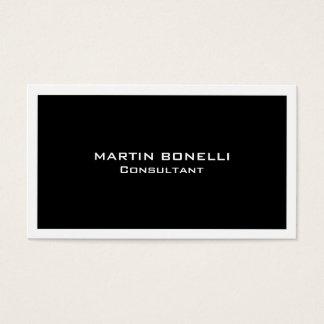 Plain Clean Black White Border Standard Business Card