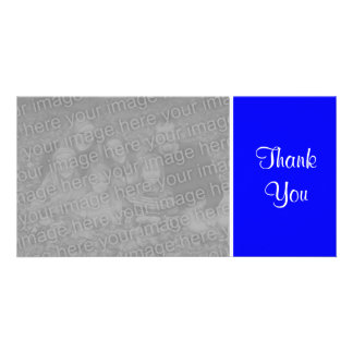 Plain Color - Thank You - Blue Photo Card