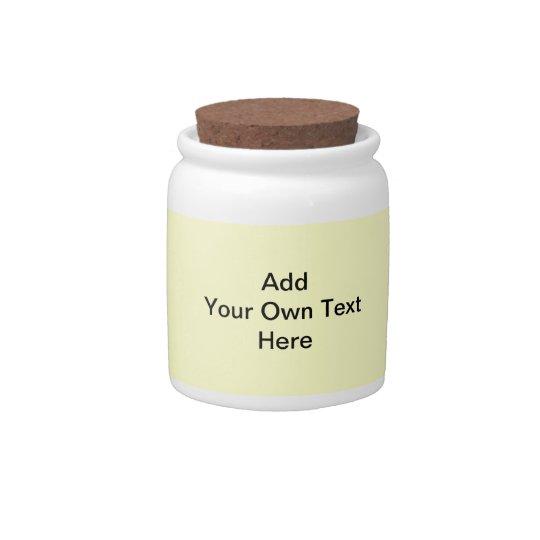 Plain Cream with Black Text. Custom Candy Jar