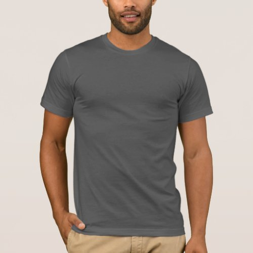 Plain dark grey fitted crew neck t_shirt for men