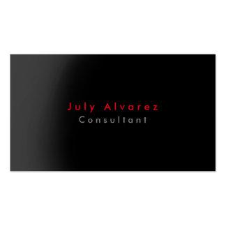 Plain Elegant Black Red Grey Minimalist Business Card