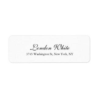 Plain Elegant Handwriting Classical Black White Label