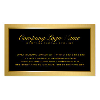 Plain Elegant Metallic Gold And Black 2 Double-Sided Standard Business Cards (Pack Of 100)