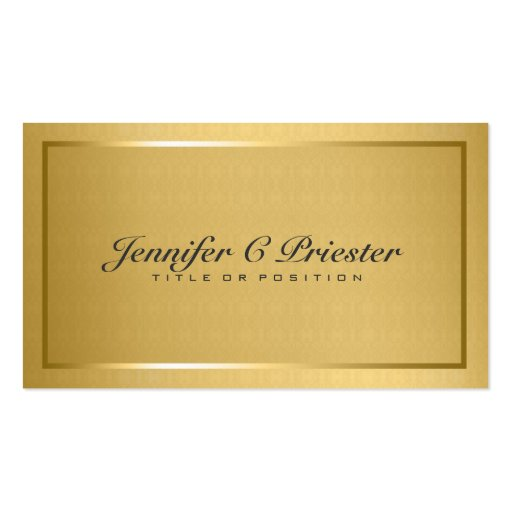 Plain Elegant Metallic Gold And Black 2 Business Cards