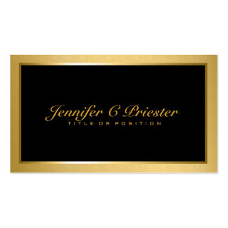 Plain Elegant Metallic Gold And Black Double-Sided Standard Business Cards (Pack Of 100)