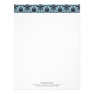 Plain Elegant Mint Blue Damask Header Letterhead