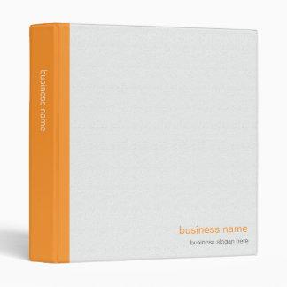 Plain Elegant Modern Simple Orange Stripe on White 3 Ring Binder