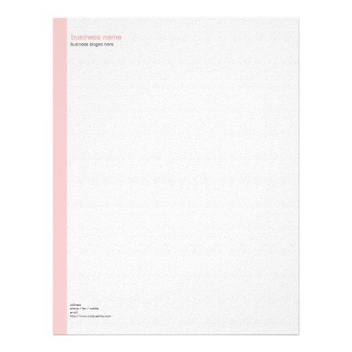 Plain Elegant Modern Simple Pink Stripe on White Letterhead