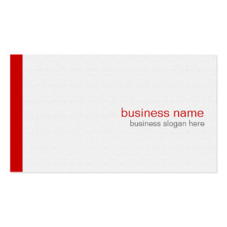 Plain Elegant Modern Simple Red Stripe on White Double-Sided Standard Business Cards (Pack Of 100)