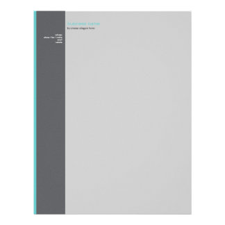 Plain Elegant Modern Simple Turquoise Stripe Customized Letterhead