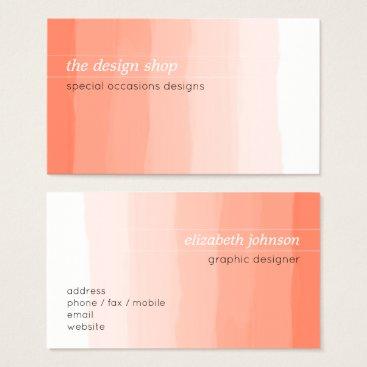 Professional Business Plain Elegant Simple Peach Watercolor Pastel Business Card