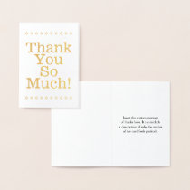 "Plain Gold Foil ""Thank You So Much!"" Card"