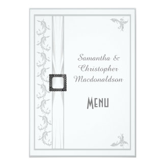 Plain gray and white lace wedding menu card