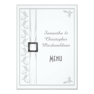 Plain gray and white lace wedding menu 5x7 paper invitation card
