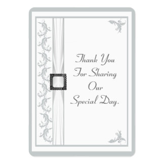 Plain gray and white lace wedding thank you tag large business cards (Pack of 100)