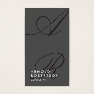 Plain Gray Black Trendy Monogram Business Card