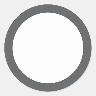 Plain gray border blank classic round sticker