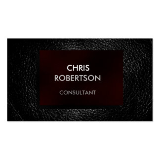 Plain Gray Leather Red Attractive Business Card