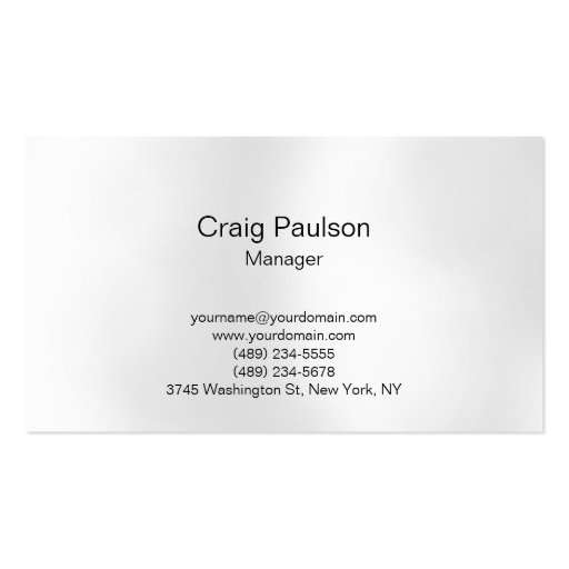 Plain Gray White Lights Manager Business Card