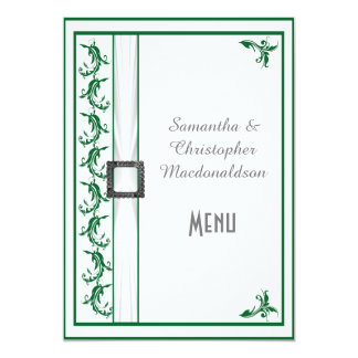 Plain green and white lace wedding menu card