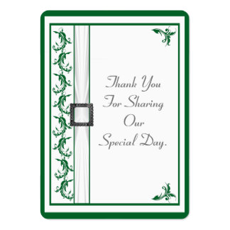Plain green and white lace wedding thank you tag large business card