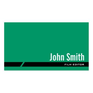 Plain Green Black Stripe Film Editor Business Card