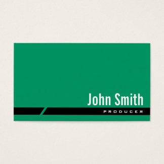 Plain Green Black Stripe Producer Business Card