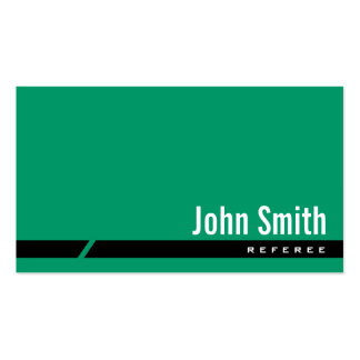 Plain Green Black Stripe Referee Business Card