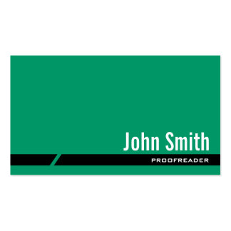 Plain Green Proofreading Business Card