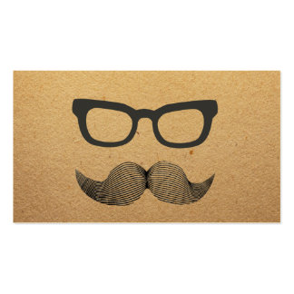Plain Hipster Glasses & Mustache Calling Card Business Card