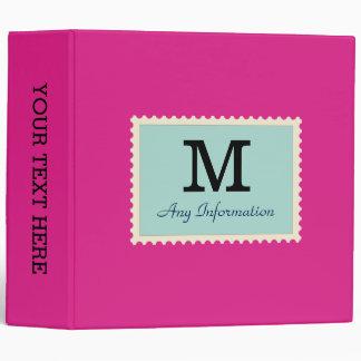 Plain Hot pink Background Monogram Binder