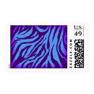 Plain Indigo/Blue Zebra Print Postage Stamp