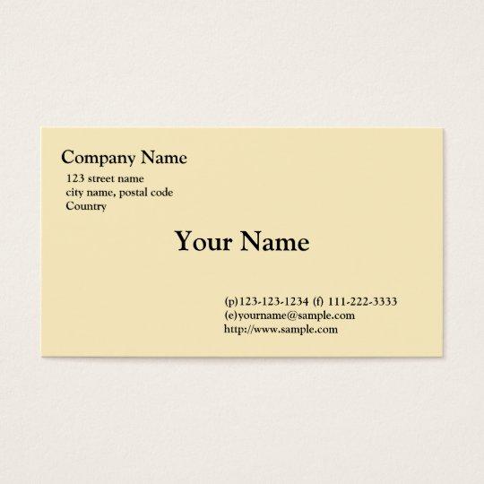 plain, light yellow business card