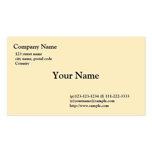 plain, light yellow business card template