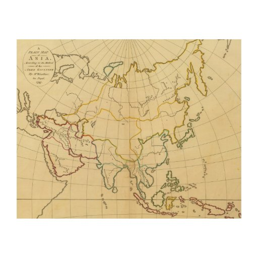 Plain map Asia Wood Prints