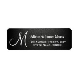 Plain Matte Black with White Font Monogram Wedding Label