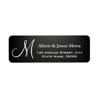 Plain Matte Black with White Font Monogram Wedding Label