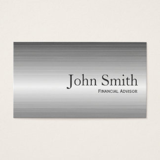 Plain Metal Financial Advisor Business Card