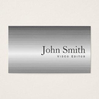 Plain Metal Video Editor Business Card