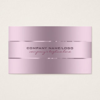 Plain Metallic Pink Tint Stainless Steel Look Business Card