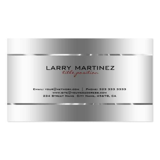 Plain Metallic Silver Design Stainless Steel Look Business Card (back side)