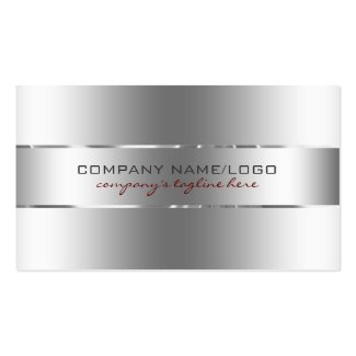 Plain Metallic Silver Design Stainless Steel Look Double-Sided Standard Business Cards (Pack Of 100)