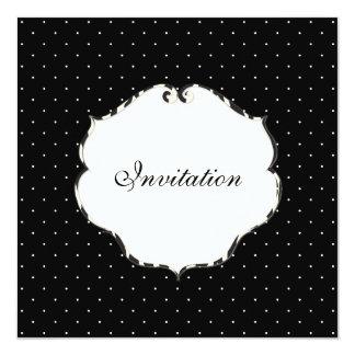 Plain mini dots black + white/zebra frame 5.25x5.25 square paper invitation card