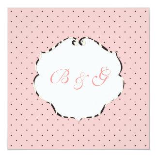 Plain mini dots pink + white/zebra frame 5.25x5.25 square paper invitation card