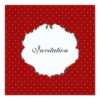 Plain mini dots red + white/zebra frame/DIY color 5.25x5.25 Square Paper Invitation Card