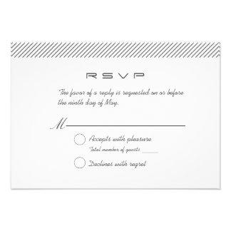 Plain Minimal Stripes Wedding RSVP Response Card